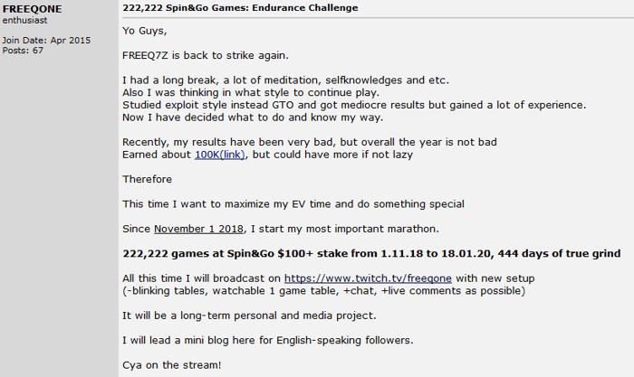 FREEQ7Z Regressa com Endurance Challenge nos Torneios Spin & Go 101