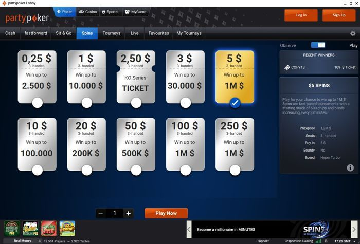 SPINS do partypoker