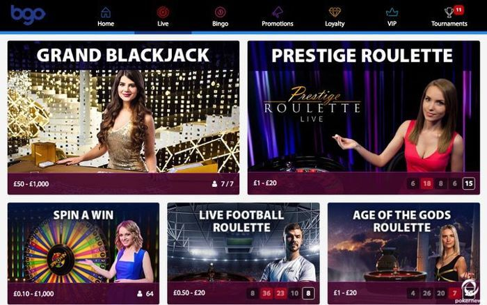 BGO is a great Casino site where you can play poker and live blackjack with American Express