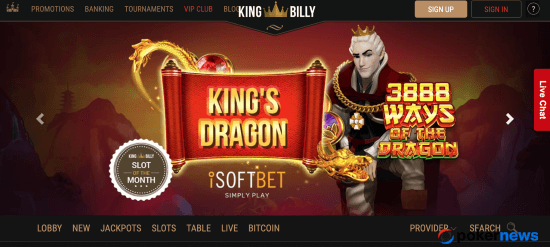 latest casino bonus offers at King Billy with codes