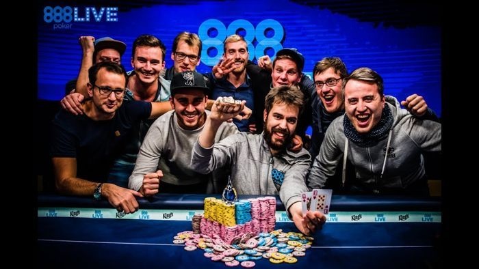 Dominik Nitsche with a group of fellow German Super High Rollers after his win in the WSOPE €111,111 High Roller for One Drop