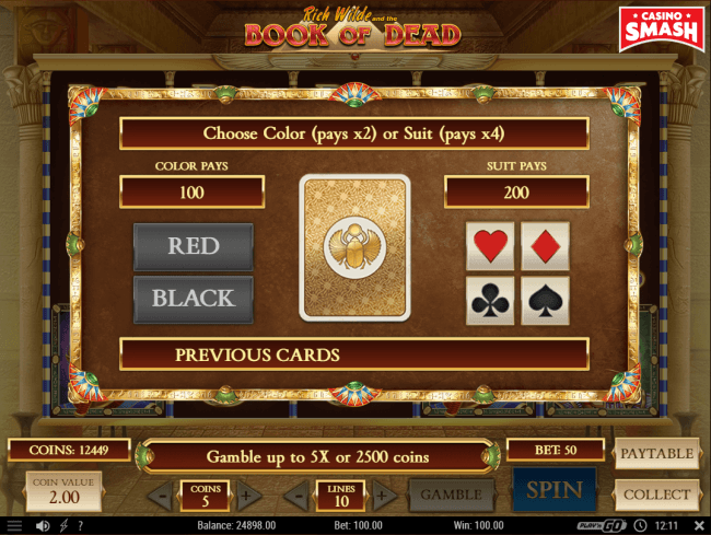 book of dead gamble feature