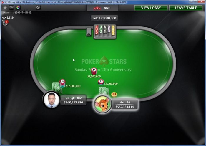 $215 Sunday Million 13th Anniversary Edition heads-up between China's