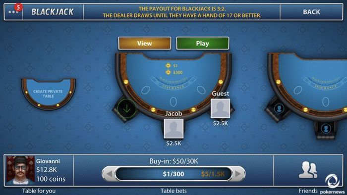 Create a private blackjack table online
