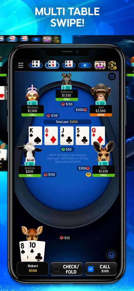 Play up to four tables at once with the 888poker mobile app