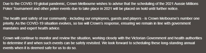 Déclaration de Crown Melbourne