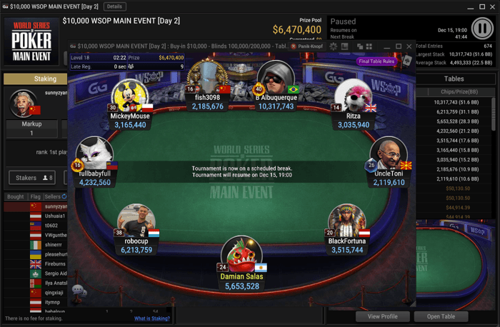 2020 GGPoker $10,000 WSOP Main Event Final Table