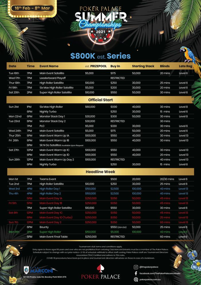 Jadwal Kejuaraan Musim Panas Poker Palace 2021