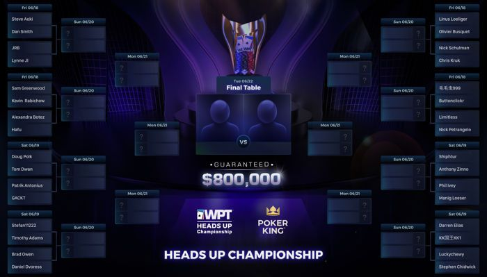 2021 WPT Heads Up Championship Brackets