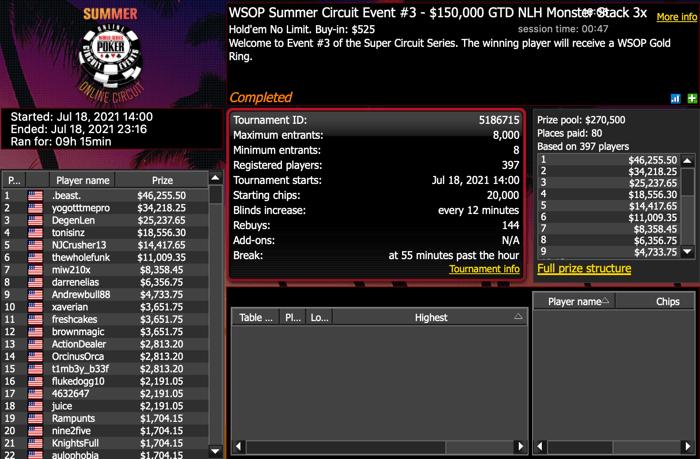Acara Sirkuit Musim Panas Online WSOP 3