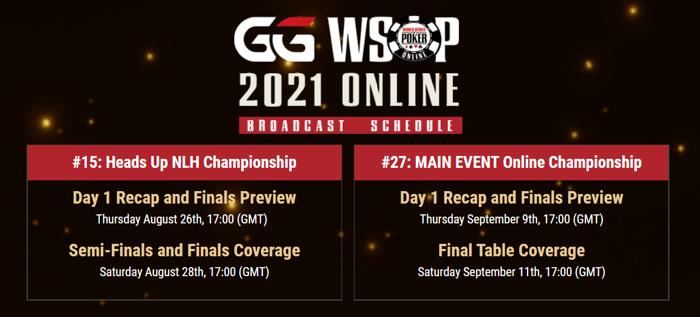GGPoker.TV WSOP Online Broadcast Schedule
