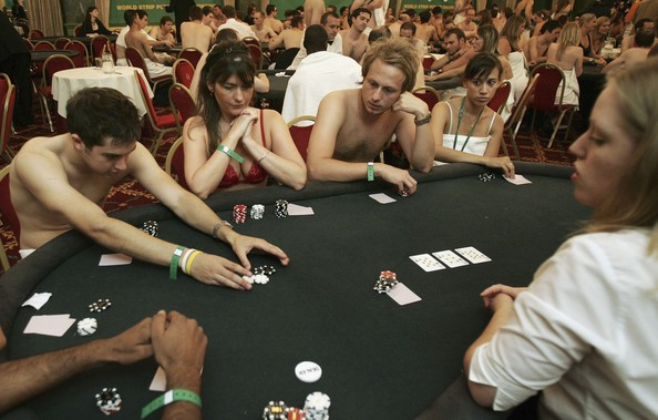 College girls playing strip poker