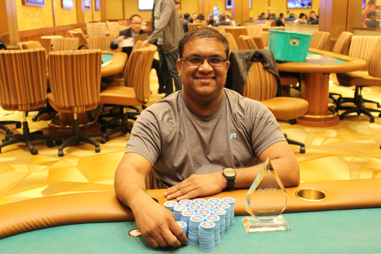 Victor ramdin tops five way chop at parx pokernews for Parx poker room live game report
