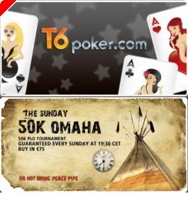 Jogue €50K Garantido PLO Domingo 16 Março GRÁTIS na T6 Poker