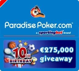 Paradise Poker Oferece €275,000 Para Celebrar o 10º Aniversário da Sportingbet