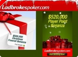 $500,000 em Freerolls no Natal da Ladbrokespoker!