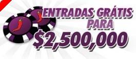 Entradas Grátis para o Torneio $2,500,000 Garantidos na ChiliPoker!