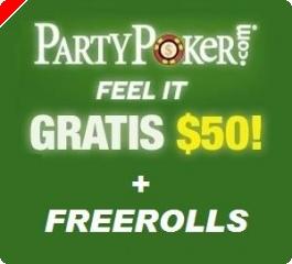 PartyPoker: HOY DOMINGO... ¡freeroll de 1.500$¡ y además 50$ GRATIS