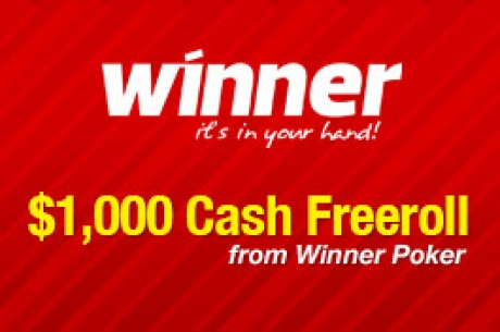 $1,000 Cash Freeroll na Winner Poker - Período de Qualificação Termina às 23:59