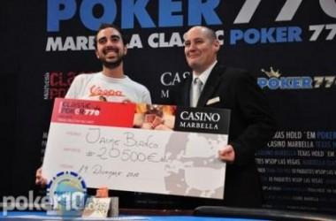Fin de semana de torneos: Jaime Blanco gana la final del Marbella Poker Classic, y pacto en el...