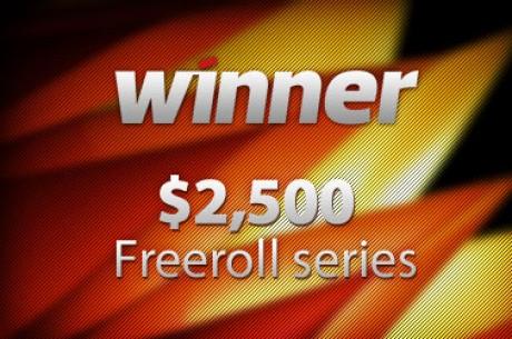 Hoje às 19:35 Winner Poker $2,500 Freeroll Series - Apenas 10 pontos para se qualificar!