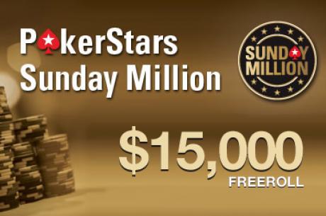$45,000 prizinio fondo Sekmadienio Milijono nemokami turnyrai PokerStars kambaryje...