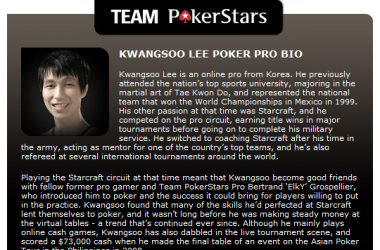 韩国人第一次成为PokerStars扑克之星明星队成员!!