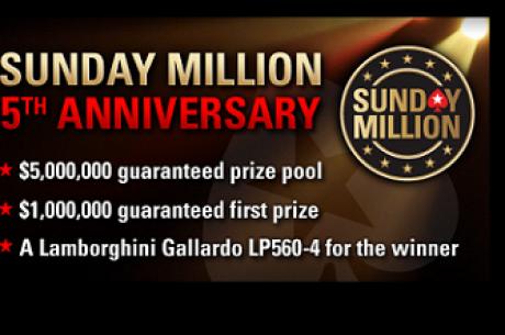 A PokerStars Anuncia Sunday Million com $5 Milhões garantidos - Freeroll Exclusivo PokerNews