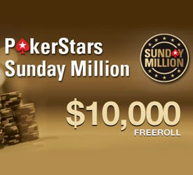 Kvalifikuj se za PokerStars $10.000 Sunday Million Freeroll!