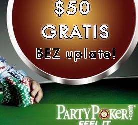 Preuzmi besplatnih $50 na PartyPokeru bez depozita!!!