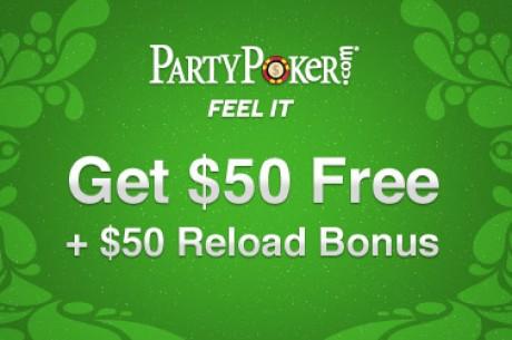 Получите от Party Poker бесплатный бонус $50 + $50 Релоуд...
