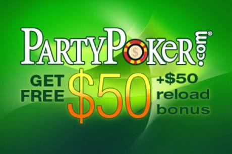 PartyPoker αποκλειστικό bonus  $50 Δωρεάν + Τουρνουά χωρίς rake
