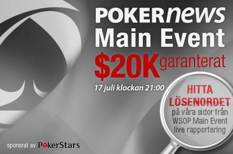 PokerNews Main Event hos PokerStars - $20k GTD, öppen för alla