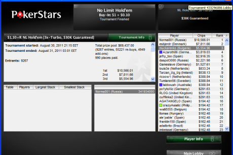 muckarenko спечели $5,554 от 3х-турбо турнир в PokerStars
