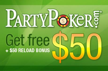 PartyPoker αποκλειστικό bonus $50 Δωρεάν + $50 Reload Bonus
