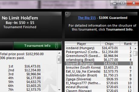 StoyanB взе $4,632 от PokerStars The Big $55; още много други БГ...