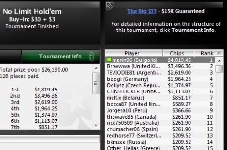 marin06 спечели PokerStars The Big $33 за $4,819; pavcoco спечели The Big $22...