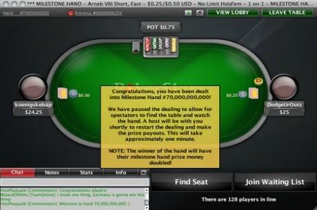 PokerStars entrega la mano 70 mil millones