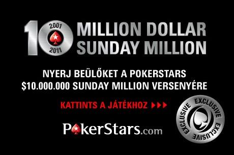 Nyerj beülőt a $10 millió dolláros Sunday Millionre, a 10th Anniversary Special...