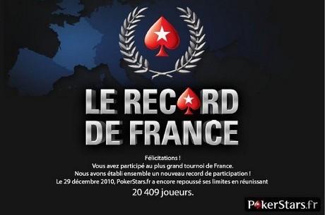 PokerStars.fr - Tournoi Record de France : Buy-in 1€, 20.409€ garantis (28 déc à 20h)