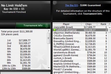 LaMeRiX остана втори в PokerStars The Big $55 за $13,300, плюс още...