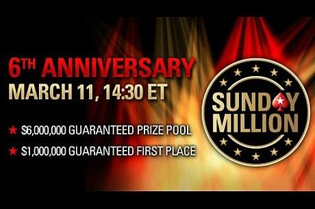 6 millones de dólares: premio garantizado del Sunday Million del 6.º aniversario