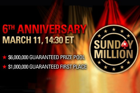 PokerStars Sunday Million feirer 6 år på søndag, $6 millioner i potten