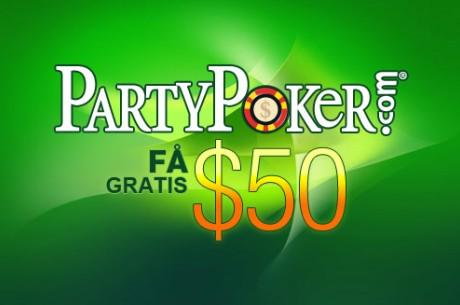 Få $50 hos PartyPoker, utan krav på insättning