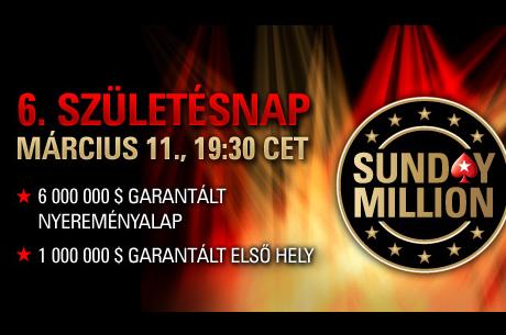 Ma este 19:30-kor kezdődik a $6 milliós, jubileumi Sunday Million a PokerStarson