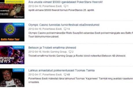 PokerNews Eesti TOP 10: uudised ja artiklid 2012