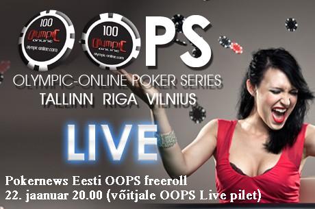 Olympic-Online Poker Series 2013 avalöök reedel, 22. jaanuar toimub Pokernews OOPS freeroll