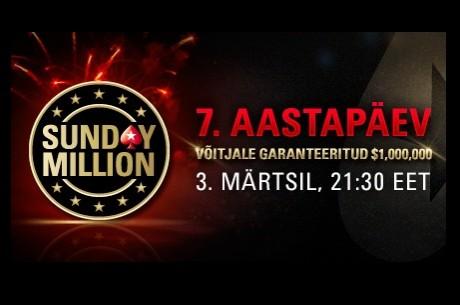 Sunday Million sünnipäevaturniir garanteerib võitjale miljon dollarit!