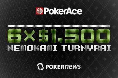 Laimėk savo dalį iš $9,000 PokerAce nemokamuose turnyruose