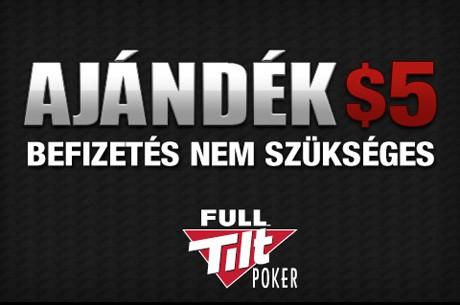 Ingyen $5 a Full Tilt Pokeren csak szeptemberben, befizetés nem szükséges!